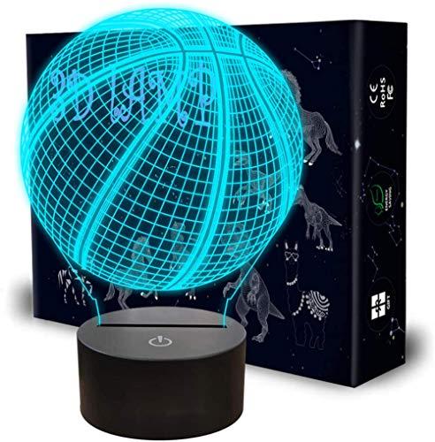 Lámpara de ilusión 3D LED de baloncesto 3D de ilusión óptica lámpara de noche para niños y niñas como en cumpleaños o vacaciones