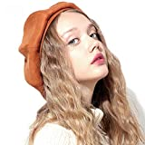 Cvbndfe Suave Sombrero de Boina de Boina de Lana de Color Liso de Artista francés...
