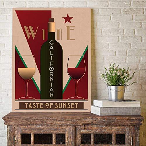 VVSUN Cuadro de Arte de Pared de Bar Vintage de Vino californiano, Carteles de Vino, Restaurante, decoración del hogar, Pintura en Lienzo, 42X60cm sin Marco
