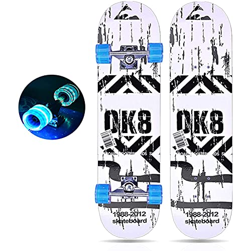 Skateboards 31' Skateboard Complete for Adults Kids Beginners Girls Boys 7 layers Maple Longboard Skateboard with LED Light Up Wheels (Color : E)