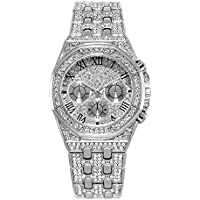 Reloj Bling Hombre, Reloj de Diamantes de imitación con Diamantes de imitación con Diamantes de Diamante de Hip Hop - Movimiento de Cuarzo