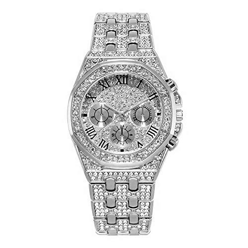 JunMei Reloj Bling Hombre, Reloj de Diamantes de imitación con Diamantes de imitación con Diamantes de Diamante de Hip Hop - Movimiento de Cuarzo