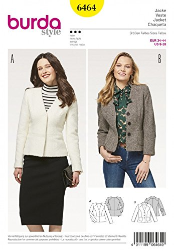 Burda Damen-Schnittmuster 6464 Schößchen und klassische Blazer-Jacken
