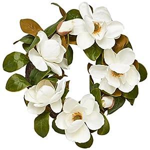 Worth Imports 22″ Magnolia Wreath W/ 7 Flowers