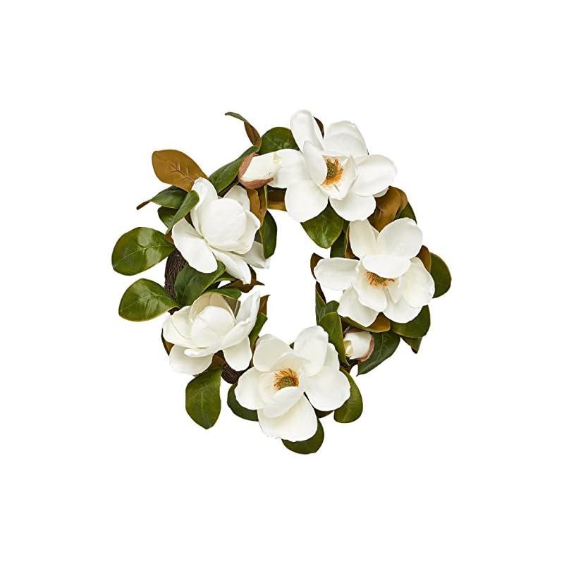"silk flower arrangements worth imports 22"" magnolia wreath w/ 7 flowers"