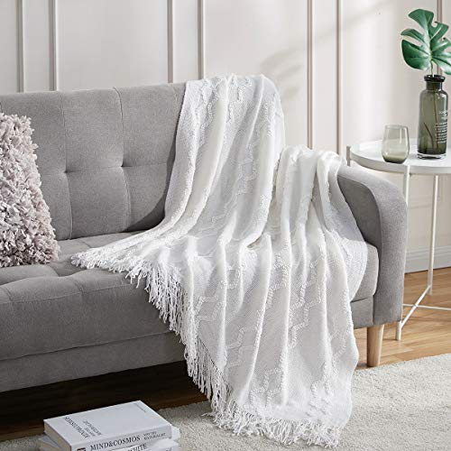 BOURINA Fluffy Chenille Knitted Fringe Throw Blanket, Lightweight Soft Cozy for Bed Sofa Chair (White, 125x152cm)