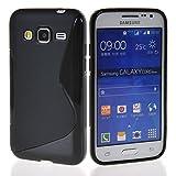 MELOENVIAS Funda para Samsung Galaxy Core Prime G360F Gel TPU Diseño S-Line Color Negro
