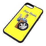 UNIGIFT Regalo personalizado – Mecánico con rueda de coche iPhone 8 Plus/iPhone 7 Plus funda (color de carrera) Nombre mensaje único Apple Cover – Ingeniero Garaje Trabajador Personal Vehículo
