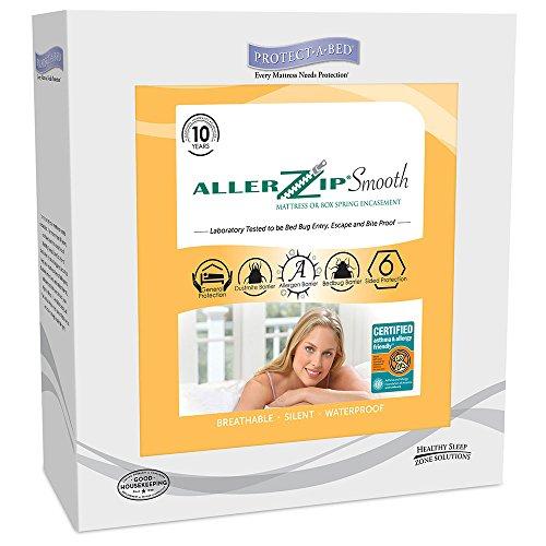 Protect-A-Bed Able2Allerzip Matratzenschoner Glatte Allergie Matratzenschoner, Polyester-Mischgewebe, weiß, King Size