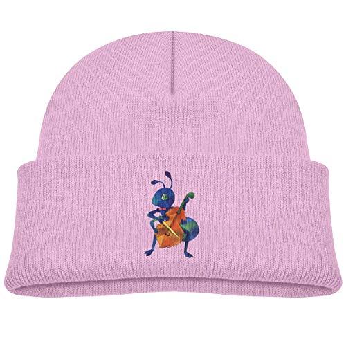 MinnSok Chapeau Chaud d'hiver de Fille de garçon de bébé, Chapeau de Bonneterie d'enfants, Funny Blue Ant Play Violin Winter Hat Knitted Skull Cap for Boys Girls Gray
