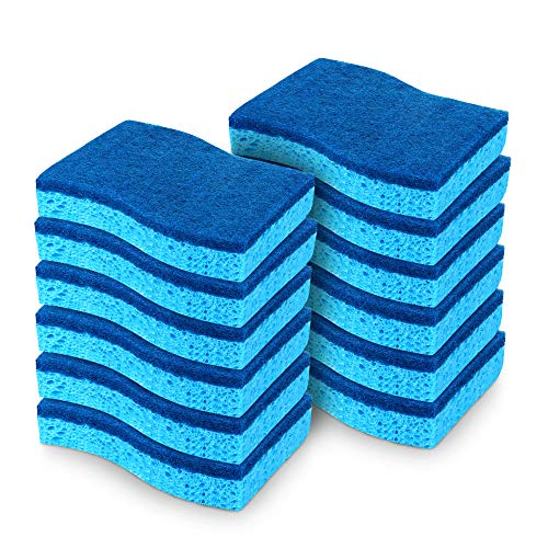 AIDEA-Brite Non-Scratch Scrub Sponge, Cleans Fast Without Scratching, Stands Up to Stuck-on Grime, Cleaning Power for Everyday Jobs, 12 Scrub Sponges