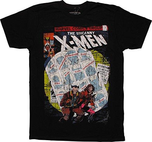 Camiseta masculina X-Men Uncanny Cover envelhecida justa, Preto, Medium