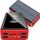 PWQ-01 Power Bank, Cargador Solar 50000mah 10W QI Inalambrica Power Banks Cargador Portátil [4...