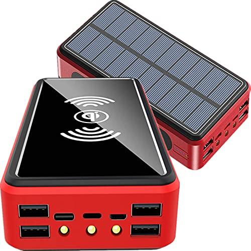 Cargador Solar, Solar Power Bank 50000mah Carga Rapida Power Bank Solar, QI Carga Inalámbrico Bateria Externa Movil 5 Salidas Powerbank con 3 Modo Iluminación 3 LED Cargador Portatil para Teléfono