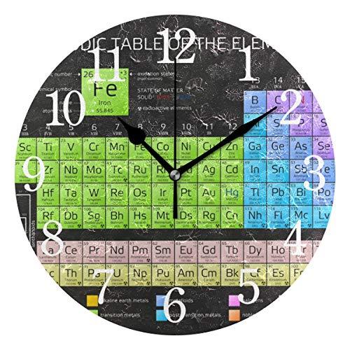 WowPrint Wanduhr, Elemente, Chemie, Periodendensystem Tisch, Acryl, rund, Nicht tickend, dekorative Kunst für Büro, Klassenzimmer, Schlafzimmer, Wohnzimmer, Badezimmer, Küche, Dekor