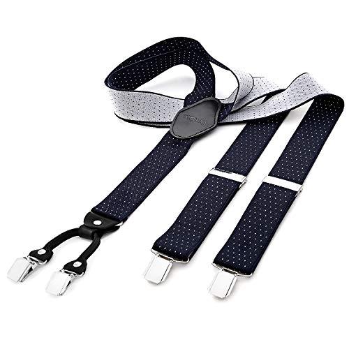 DonDon® Herren Hosenträger breit 3,5 cm – 4 Clips mit Leder in Y-Form – elastisch und längenverstellbar gepunktet in blau weiß
