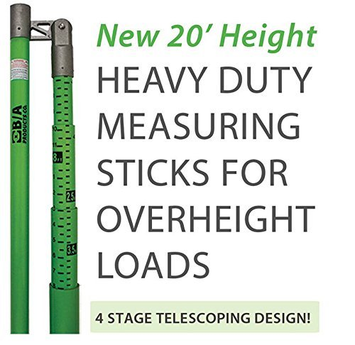 BA Products BA-MS20 20' Load Height Measuring Stick with Standard & Metric Measurements for Trucks, Trailers, Vehicles