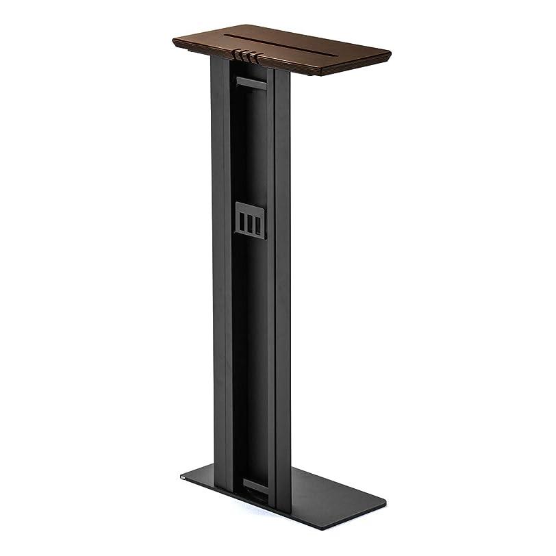 デコラティブ換気するブローホールサンワダイレクト 壁寄せ 充電スタンド サイドテーブル USB充電器収納 高さ90cm 天然木 ブラック 200-STN032BK