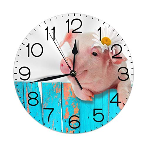 Dujiea 3D Pig Round Wall Clock Silent Non Ticking Battery Operated 9.5 Inch for Student Office School Home Decorative Clock Art
