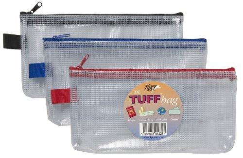 DL (11cm x 23cm) Bolsos de vinilo transparente reforzado almacenaje Carpetas Bolsas Zippa Cremallera Funda Billetera RESISTENTE 301338 (paquete de 12)