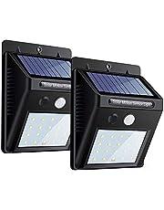 Hareket sensörlü güneş enerjili lamba, dış mekan için 20 LED'li solar lamba, güçlü ışık fonksiyonu, teras, veranda, çit, bahçe, balkon, teras aydınlatması için (2'li paket)