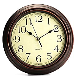 Bekith 12-Inch Round Classic Clock Retro Non Ticking Quartz Decorative Wall Clock