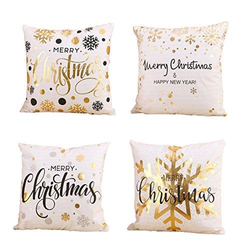 Hoomall Lot de 4 Housses de Coussin Decoratif Lit Linge Coton Oreiller Maison Décor Taie d'oreiller pr Sofa Style Noël 45x45cm (#1, 45x45cm)