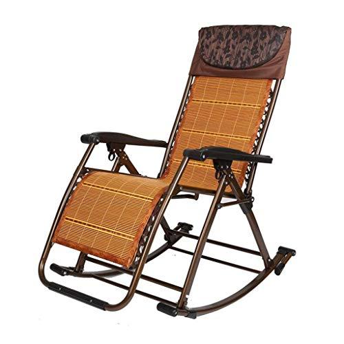 gj Fauteuil à Bascule inclinable Fauteuil à Bascule Balcon Fauteuil inclinable Adulte Pliage Déjeuner Sieste Loisir Chaise pour Personnes âgées (Couleur : Brown)