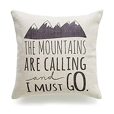 Hofdeco Decorative Throw Pillow Cover HEAVY WEIGHT Cotton Linen Quotes and Sayings the Mountains are Calling and I Must Go Script 18 x18  45cm x 45cm