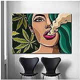 ZHANGPENGBOFBH Leinwand Wandkunst Mädchen Smoking Weed
