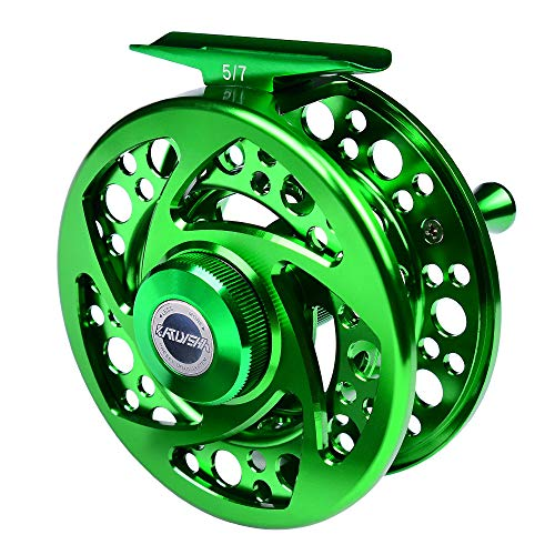 LHY Rueda de Pesca con Mosca 2 + 1 BB 5/7 7/9 9/10 WT, con Carrete de Mosca de Aluminio Troquelado Grande Cortado a máquina CNC,Forest Green,5/7