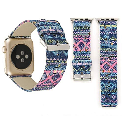 Reloj Correa para Apple Watch Series 3 y 2 y 1, Estilo étnico Retro Lienzo + Cuero Genuino Reloj de muñeca de Cuero -42mm (Color : Color7)