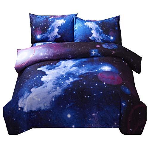 GODGETS Funda de Impresión Algodón Colcha Nórdica de Edredón de Estrella de Cielo en 3D, Funda de Misterioso Cielo Ropa de Cama,Galaxia 6,[150 * 210] CM 4 Pics