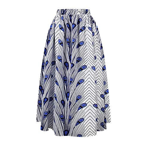 GNEHSL Frauenröcke,Frauen Plus Size Afrikanische Traditionelle Kleidung Blau Pfauenfeder Drucken Langer Rock, Hohe Taille Casual Stretch Midi Röcke, Damen Party Prom Rock, L