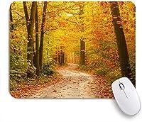 VAMIX マウスパッド 個性的 おしゃれ 柔軟 かわいい ゴム製裏面 ゲーミングマウスパッド PC ノートパソコン オフィス用 デスクマット 滑り止め 耐久性が良い おもしろいパターン (フォレストフォールリーフ秋メープルジャングル)