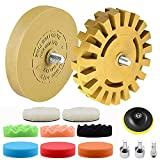 13 PC VONDERSO Car Decal Adhesive Removal Tool Set, 4 Inch Eraser Wheel Sticker Remover with Sponge Polishing Pads, Wool Buffing Pad and Plastic Razor Blades