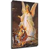 Cuadro religioso con 3 niños, diseño de ángel de la guarda