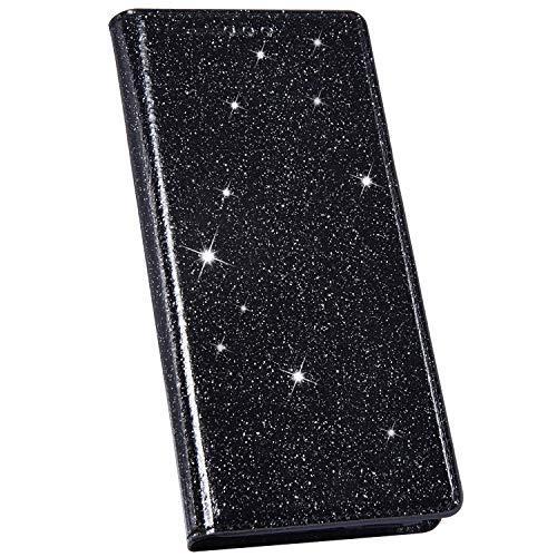 Ysimee Compatible avec Coque iPhone 7/8 Plus Mode Glitter Housse en Cuir Coque à Rabat Portefeuille Aimant à Enfiler avec Emplacement pour Cartes de Crédit et Fonction Béquille,Noir