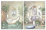 Dcine Set de 2 Cuadros de baño de Tonos Verdes Pastel. Lavabo, bidé. Cuadros sobre Base de Madera de 25x19 cm x 4 mm unid.