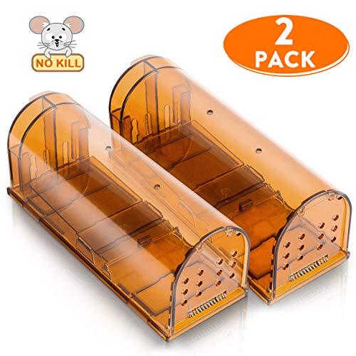 Emooqi Mausefalle lebend, 2 Pack Lebend Mausefalle mit transparent und Luftlöcher Kastenfallen, Wiederverwendbare Lebendfalle tierfreundlich Verwendung im Innen und Außenbereich