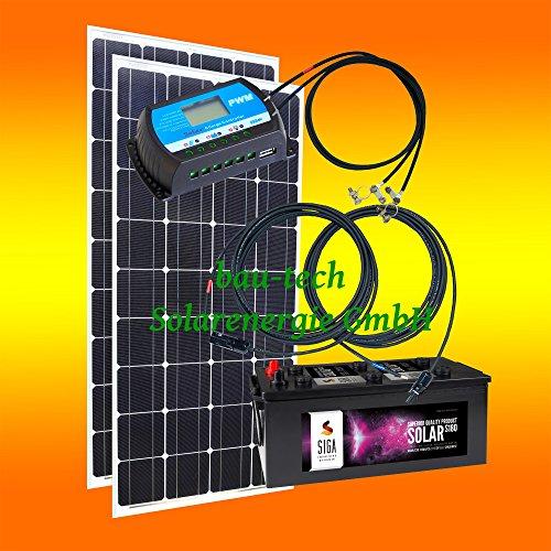 200 Watt Inselanlage, 12 Volt SET ohne Spannungswandler mit Batterie von bau-tech Solarenergie GmbH