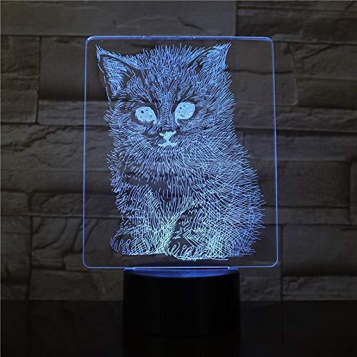 3D acryl nachtlampje met afstandsbediening, kleurverandering, tafellamp, realistische kat, sliding flash nieuwe kinderbedlampje