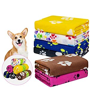 "AK KYC 6 Pack Mixed Puppy Blanket Cushion Dog Cat Fleece Blankets Pet Sleep Mat Pad Bed Cover with Paw Print Kitten Soft Warm Blanket for Animals(40""x 28"""