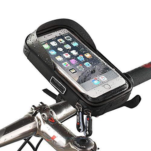 Sanqing Fahrrad-Telefon-Tasche, Universal Bicycle Rear Lenker Tasche Tasche mit Wasser widerstandsfähigen Rahmen transparenten Touchable Case 360 Grad Rotation für unter 6 Inchs Smartphone,Black