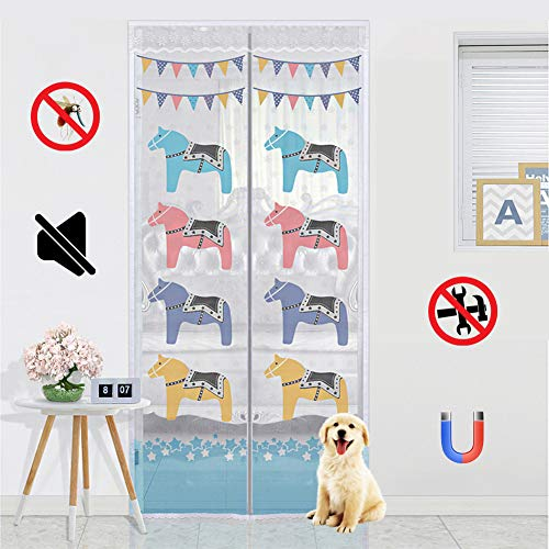 ROYWY Magnetic Fly Screen Door,Anti-Mosquito Curtain,Super Quiet Stripes Encryption,Keep Bug Out Let Fresh Air in for Balcony Sliding Living Room Children's Room/A / 120x210cm