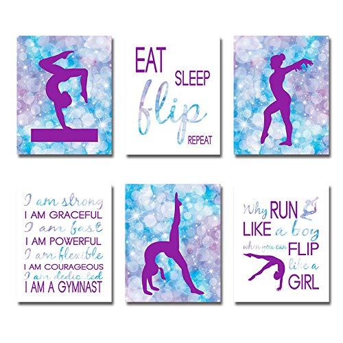 Mirabuy Set of 6 Unframed Gymnastics Wall Art , Gymnastics Wall Decor, Gymnast Wall Art (8' x 10')