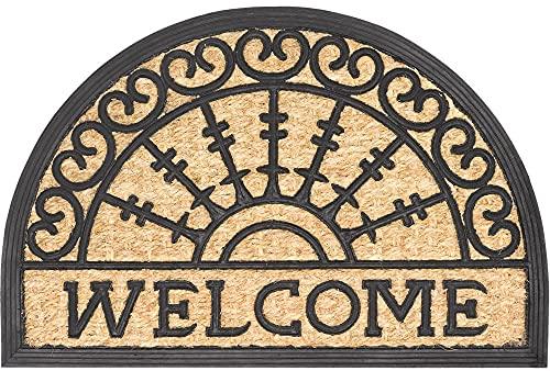 matches21 Fußmatte Fußabstreifer Kokosmatte KOKOS Türmatte In- & Outdoor halbrund mit Gummi Welcome & Ornamente 40x60 cm