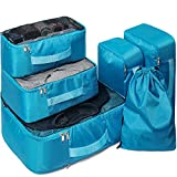 6 Set Organizadores de Equipaje, Bolsas de Equipaje Impermeable Cubos Embalaje de Viaje Bolsas de Almacenamiento para Ropa Zapatos, Cosméticos Accesorios (Azul)