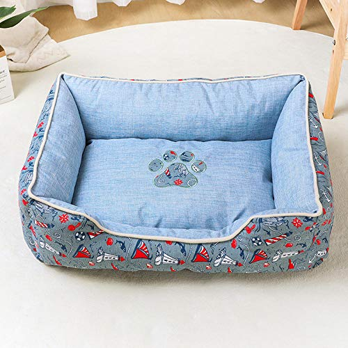 Cama para Perros de Felpa Suave y cálida Cama para Perros Cama para Dormir mullida sofá para Mascotas Perros pequeños y medianos de Varios tamaños -Barco de Vela Azul_Talla M-40 * 60 * 25