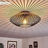 Deckenleuchte Wemude, Deckenlampe aus Metall in Schwarz/Gold, 1-flammig, 1 x E27-Fassung max. 60 Watt, moderner Leuchte im Retro/Vintage Design m. Gitter u. Lichteffekt an der Decke, LED geeignet